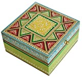 """Item Under 20 Dollars – 5"""" Wooden Jewelry Box / Trinket Box for Girls / Women – Premium Quality Decorative Box with Cone Painting Art – Best Gifts for Her"""
