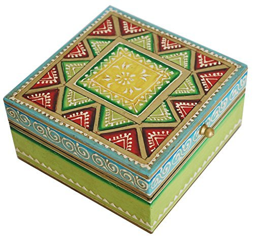 "Item Under 20 Dollars – 5"" Wooden Jewelry Box / Trinket Box for Girls / Women – Premium Quality Decorative Box with Cone Painting Art – Best Gifts for Her by SouvNear"