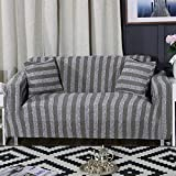 ONCEFIRST 1 Piece Knit Stretch Striped Sofa Slipcover for Armchair Loveseat Sofa Couch Grey Big Sofa(92''-122'')