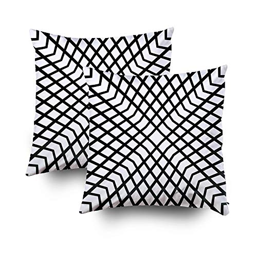 - Bed Pillow Covers,Seamless surface pattern design with mini diamond and chevrons ornament White geometric figures on black background Grid motif Checkered wallpaper Digital paper for print Rhombuses i