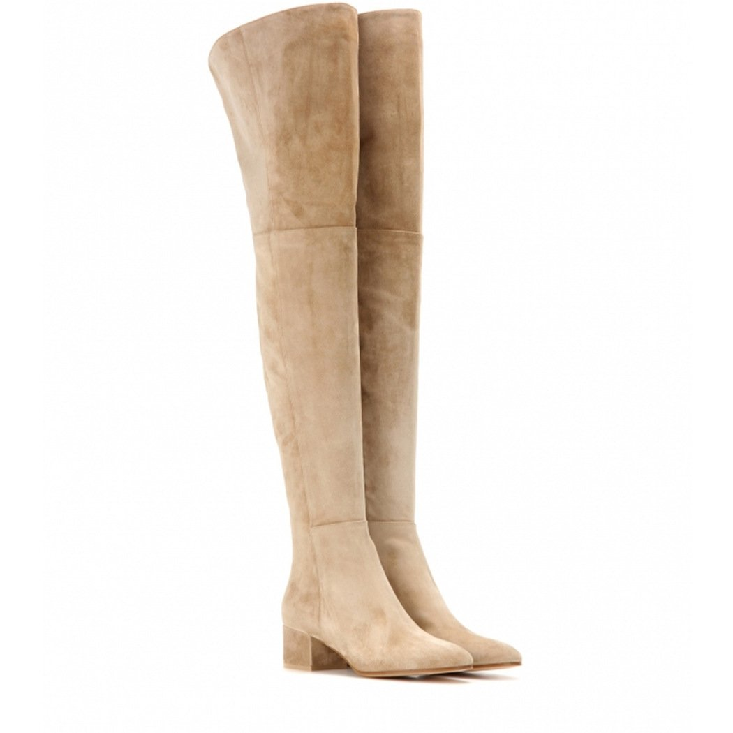 Fashion Thigh high Boots Elegant Knee Boots Chunky Heels Warm Fur Lining Winter Knee Boots 2018 B07DP3T8CL 4 B(M) US|Apricot