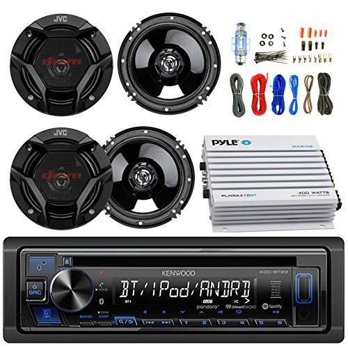 "Kenwood KDCBT23 Car CD Player Receiver Bluetooth USB AUX Radio - Bundle Combo with 4X JVC CSDR620 6.5"" Inch 300-Watt 2-Way Black Audio Coaxial Speakers + + 4-Channel Amplifier + Amp Kit"