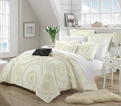 Rosa 7-Piece Ruffled Etched Embroidery Comforter Set, Queen, Beige/Cream; Bed in a Bag, 4 Shams and 2 Throw Pillows Included