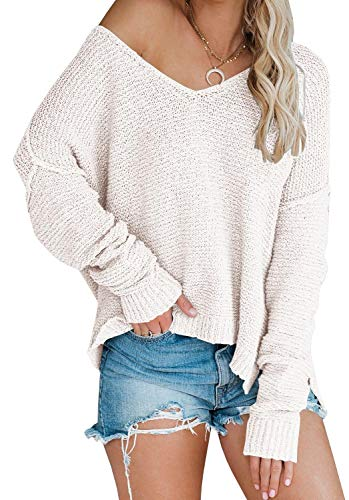 Women's Off Shoulder Pullover Batwing Sleeve Sweater Side Split Oversized Chunky Knit Tunic Beige