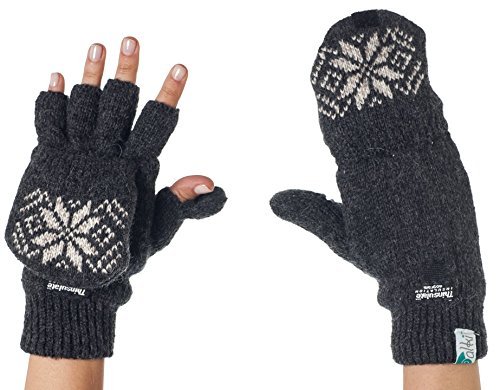 Alkii 3M Thinsulate Thermal Insulation Fingerless Texting Gloves with Mitten Cover - Grey