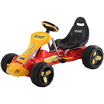 costzon red black products go kart 4 wheel kids ride on car stealth pedal powered outdoor