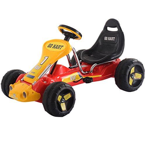 Costzon Go Kart, 4 Wheel Kids Ride on Car, Pedal Powered Ride On Toys for Boys & Girls with Adjustab (Red)
