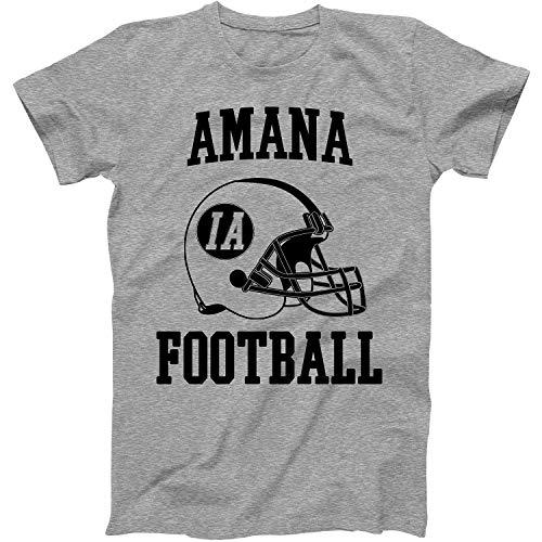 Vintage Football City Amana Shirt for State Iowa with IA on Retro Helmet Style Grey Size Large (Christmas Amana Shop)
