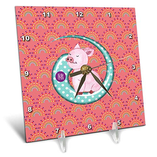 (3dRose Beverly Turner Chinese New Year Design - Snobby Pink Pig on Dotted Curl, Sign of The Pig, Heart Arch Print - 6x6 Desk Clock (dc_299620_1))