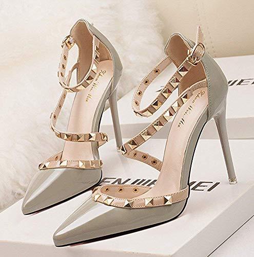 Shoes Pompa Court Alti Scarpe Rotazione Col Sandali Superficiale Sottile Rivetti Donna Party Tacchi Bocca Aguzza Alto Estate Minetom Grigio Tacco Punta a0T4XXq