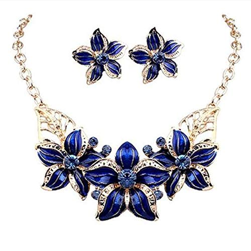 NCEGITA Jewelry Set Necklace Earrings Woman Lady Party Oil Drop Flower Joker Romantic Beautiful Amazing Jewelry Gift