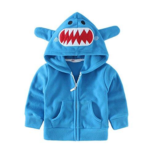 Shark Costumes Boy (Mud Kingdom Adorable Little Boys Fleece Animal Costume Hoodies 5T Blue Shark)