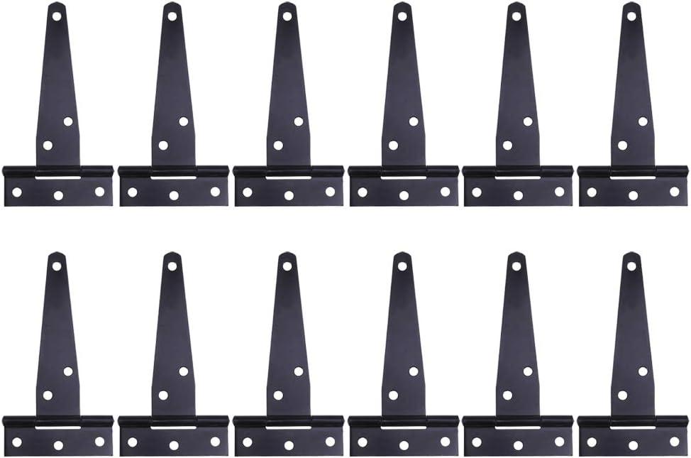 DOITOOL 12 piezas Bisagras en T Negro Bisagras para puertas bisagras de acero inoxidable para el mueble de para el hogar Gabinete la puerta del armario (4 pulgadas)