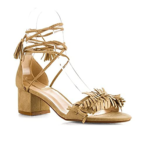 774eff8c8f41 ROF Women s Open Toe Fringe Decor Ankle Wrap Around Block Heel Sandals  outlet