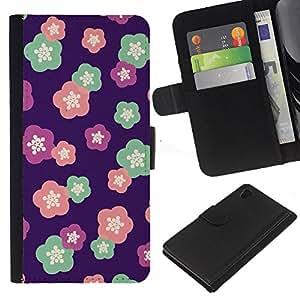 [Neutron-Star] Modelo colorido cuero de la carpeta del tirón del caso cubierta piel Holster Funda protecció Para Sony Xperia Z4v / Sony Xperia Z4 / E6508 [Floral Pattern Purple Pink Teal Pink]