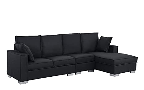 Modern Living Room Large Sectional Sofa, L-Shape Couch (Dark Grey)