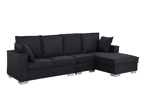 Miraculous Modern Living Room Large Sectional Sofa L Shape Couch Dark Grey Uwap Interior Chair Design Uwaporg
