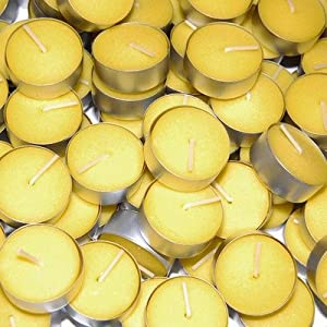Waxations Citronella 50 Pack Indoor/Outdoor Tealight Candles - Summer Yellow - USA MADE
