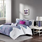Intelligent Design - Mila Comforter Set Full/Queen Size - Purple, Medallion – 5 Piece Bed Sets – All Season Ultra Soft Microfiber Teen Bedding - Perfect For Dormitory-Great For Guest and Girls Bedroom