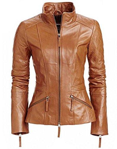 World Of Leather Women's Biker Moto Leather Jacket Cognac Short (S) by Leather World Ltd.