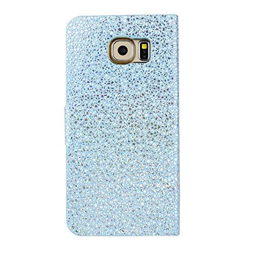 Galaxy S6 Libro Funda, Galaxy S6 Flip Case Cover, Galaxy S6 Funda con Tapa, Moon mood® Bling Glittar PU Cuero Soft TPU Interior Cáscara Folio Bookstyle Galaxy S6 SM-G9200 5.1 pulgadas Anti-arañazo Car B Azul