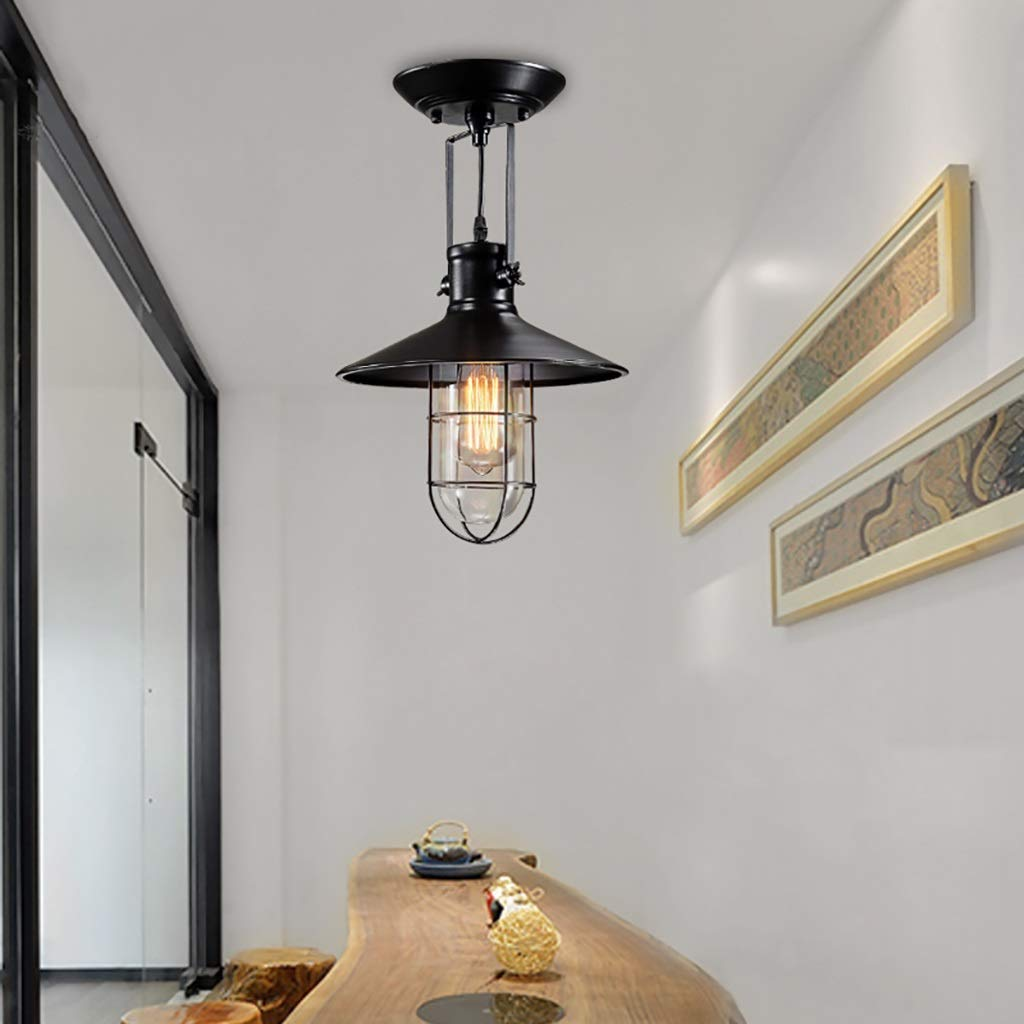 YANG Ceiling Light Retro Iron Industrial Style Loft American Ceiling Lamps European Corridor Lights Bedroom Single Head Lamp Lighting