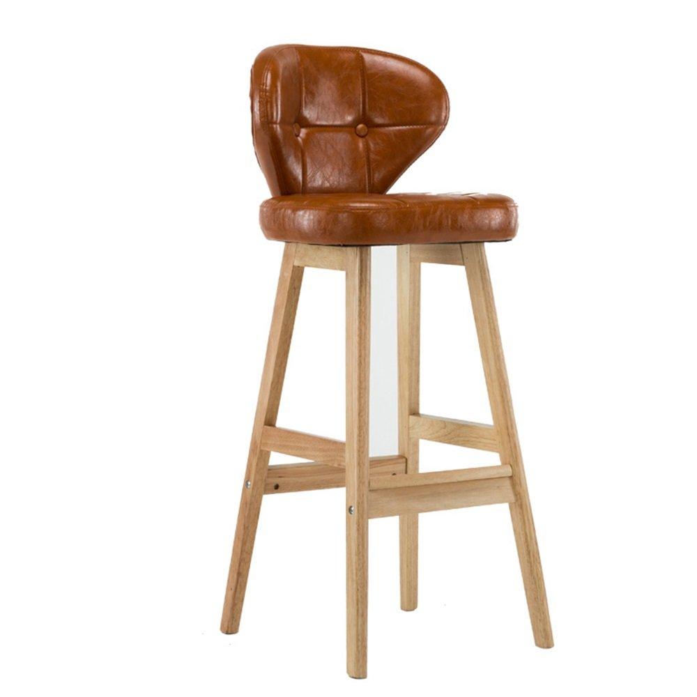 カウンターチェアソリッドウッドシートハイスツールバーキッチン朝食ダイニングチェアPUレザークッションブラウンと背もたれの椅子 (色 : A) B07DGNJSW6A