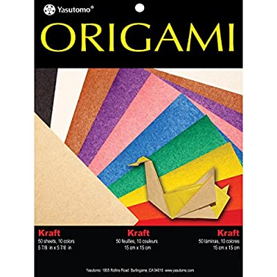 "Yasutomo Fold 'Ems Solid Origami Paper (50 Pack), 5.875"", Kraft with Assorted Colors"
