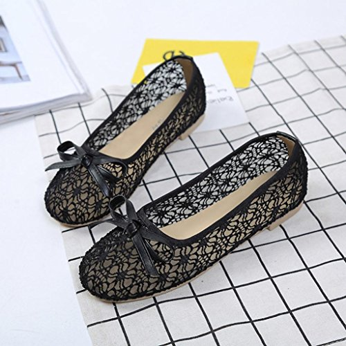 bescita Mode Frauen Hohlen Spitze Bowknot Slip-On Damen Schuhe Sandalen (36, Schwarz)