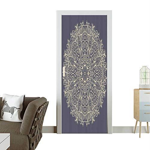 3D Door Decals Floral Mystery Deep Active Love Sun Mo Sign Bathroom Self Adhesive Door DecalW38.5 x H79 INCH