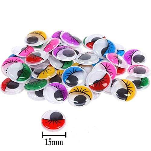 240 Pieces 15mm Wiggle Eyes Multi Color Google Eyes with Self- Adhesive Eyelash Googly Eyes