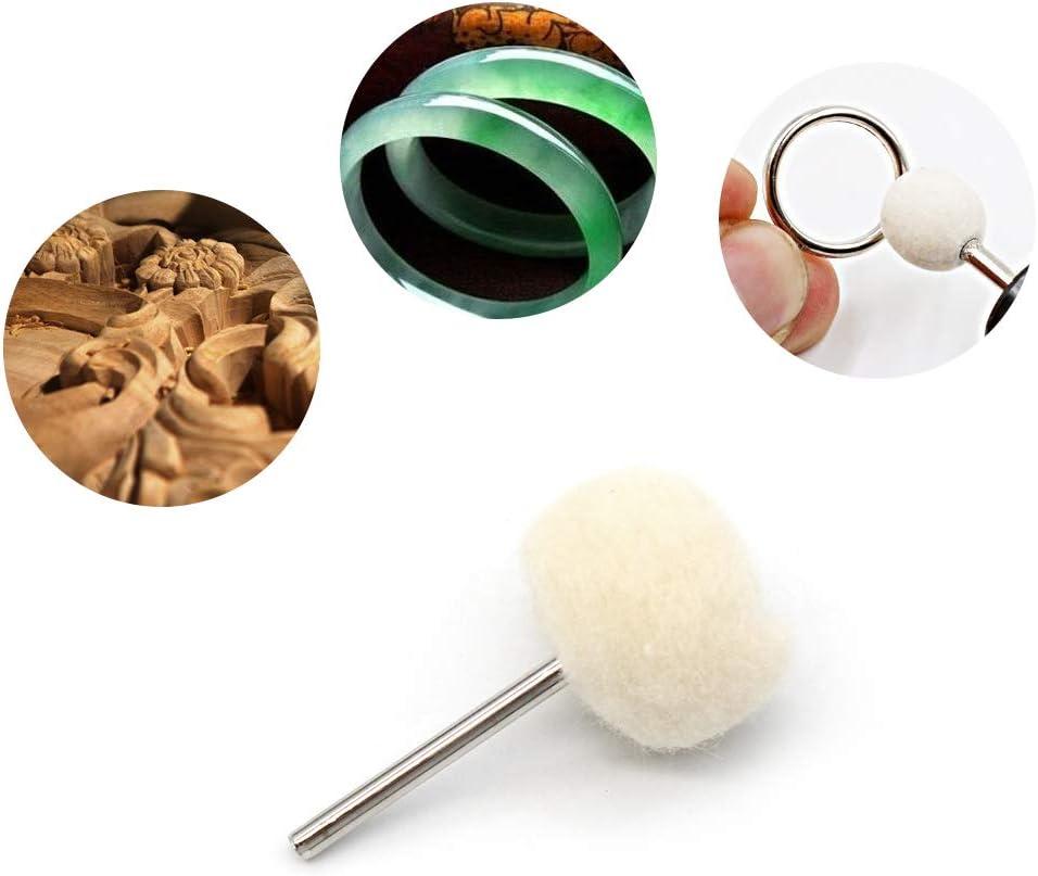Mila-Amaz 25 St/ück Wolle Polierscheibe mit Schaft Weiche Polierscheibe f/ür Dremels rotierende Werkzeuge