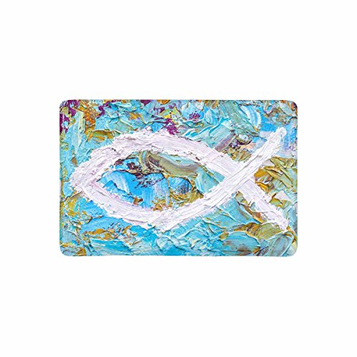InterestPrint Colorful Christian Fish Christian Symbol Doormat Non Slip Indoor/Outdoor Doormat Floor Mat Home Decor, Entrance Rug Rubber Backing 23.6''(L) x 15.7''(W) by InterestPrint