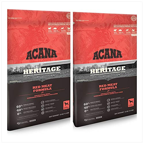 2 Bag Bundle of Acana Heritage Meats Dry Dog Food Formula with Angus Beef, Yorkshire Pork & Grass-FED Lamb 13 lbs. ea. 2 Bags = 26 Pounds Total