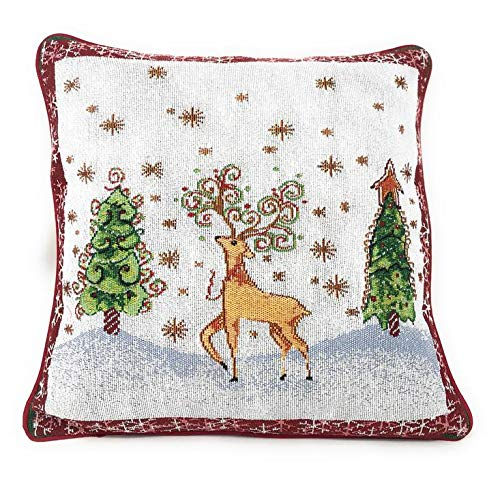 Tache Winter Forest Reindeer Antique Vintage Christmas Eve Snowflakes Holiday Season Decorative Woven Tapestry Cushion Cover, 16 x 16, 2 Pieces