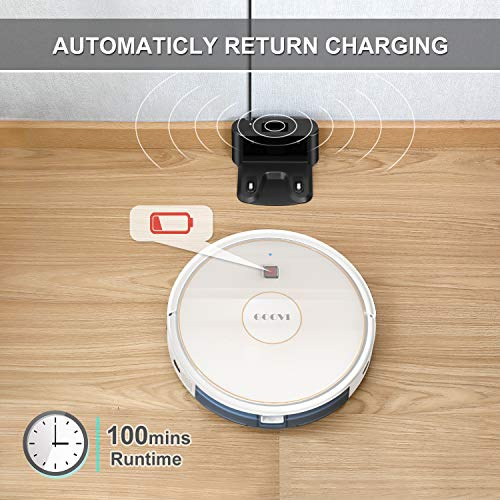 GOOVI Robot Vacuum, 1600PA Robotic Vacuum Cleaner with Wi-Fi, Super-Thin, Self-Charging Robot Vacuum Cleaner, Best for Pet Hairs Hard Floors & Medium-Pile Carpets (White)