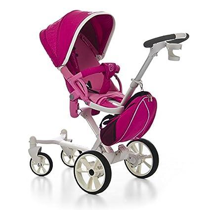 Coche paseo bebé, color FUCSIA. Incluye 3 piezas: Moisés/Capazo + Silleta + Bolso. Carrito completo, ligero, practico y seguro. MOBIBE, KOKETES, ...