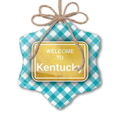 NEONBLOND Christmas Ornament Yellow Road Sign Welcome to Kentucky Blue Teal Turquoise Plaid