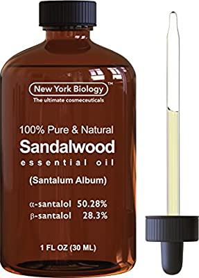 Sandalwood Essential Oil (Santalum Album) - 100% Pure & Natural - Triple Extra Quality Sandalwood Oil a-santolol 50.28%, b-santalol 28.3% - 1Oz