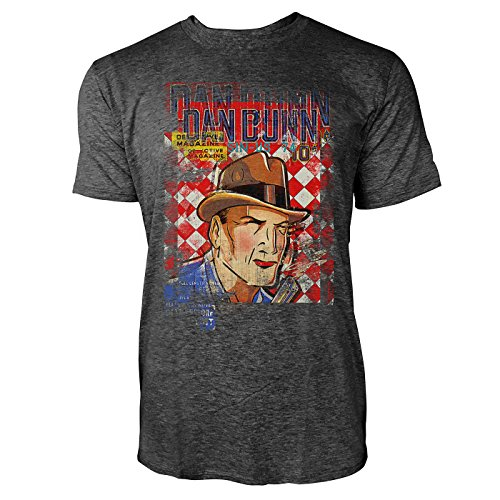 SINUS ART® Dan Dunn Herren T-Shirts stilvolles dunkelgraues Cooles Fun Shirt mit tollen Aufdruck