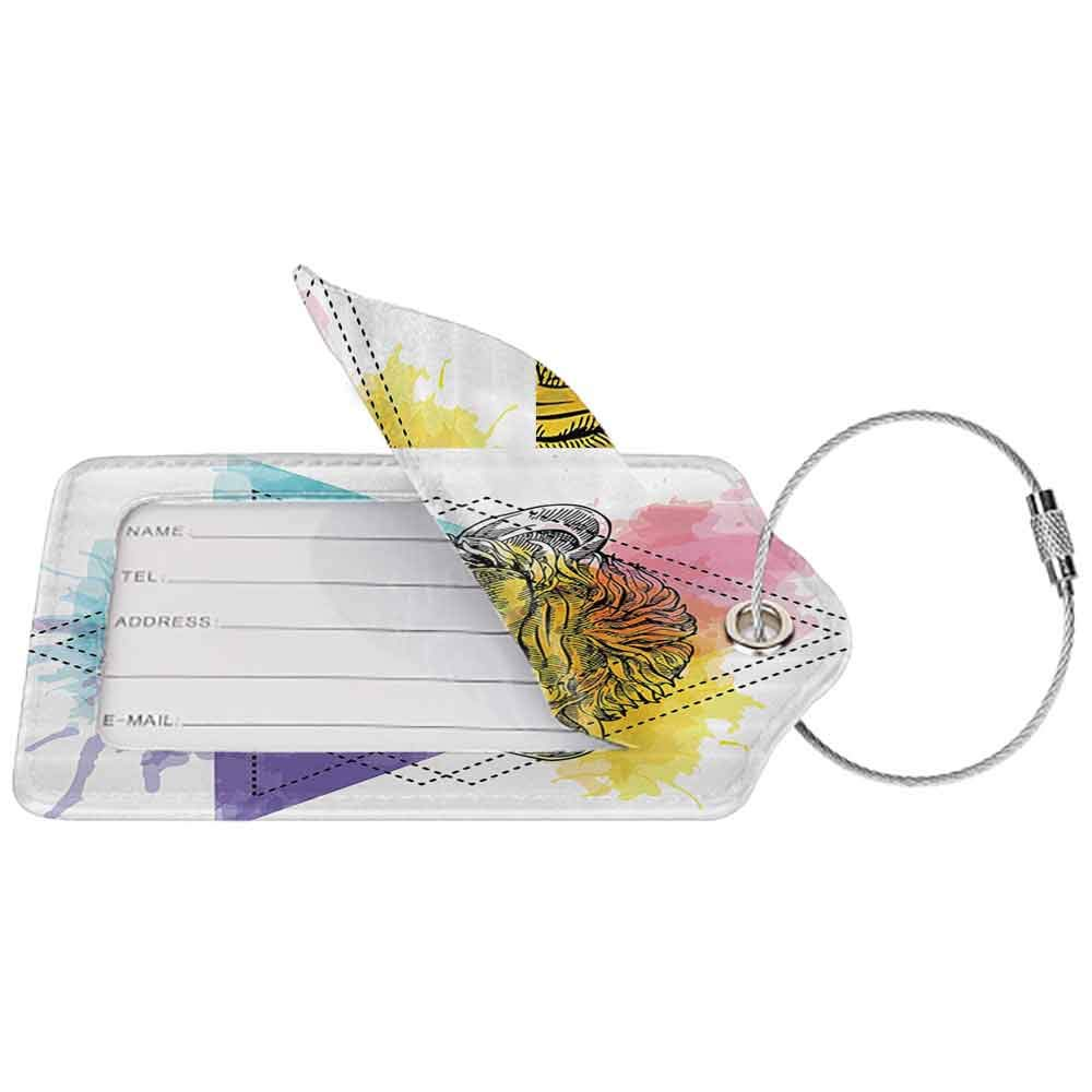Decorative luggage tag Sketchy Funny Monkey Animal with a Bowtie on Geometric Artistic Watercolor Style Backdrop Suitable for travel Multicolor W2.7 x L4.6