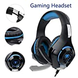 SUPERSUN Gaming Headset, Gaming Headphones Surround Sound 3.5mm Mic USB Port with LED Lights for PS4 Xbox One PC (Blue)