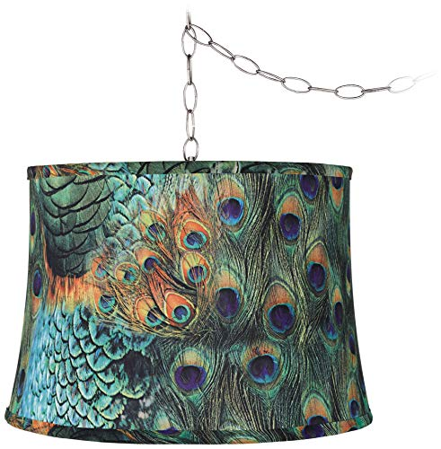Peacock Print 16 Quot W Brushed Steel Plug In Swag Chandelier