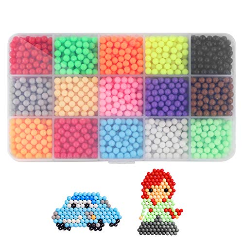 Water Spray Beads Set Water Sticky Beads,15 Colors Sticky Beads, DIY Pegboard and Full Set Accessories Fun Craft Beads for Kids Magic Water Sticky Beads DIY Art Crafts Toys for Kids