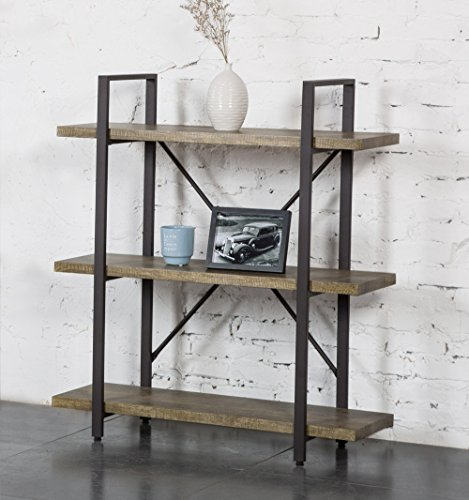 Cheap  O&K Furniture 3 Shelf Rustic Bookshelf and Bookcase, Vintage Green