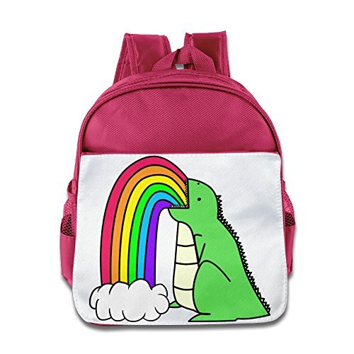 HYRONE Rainbow Dinosaur Cartoon Boys And Girls School Backpack For 1-6 Years Old Pink (Kids Plush Dinosaur Wings Costume)