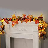 Euone Rattan Lamp Clearance, 1.8M LED Lighted Fall Autumn Pumpkin Maple Leaves Garland Festival Party Decor