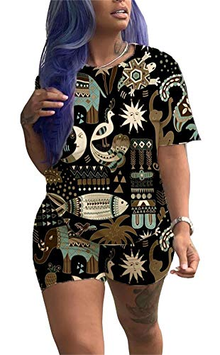 Women Summer Cool Cartoon Animal Print 2 Piece Outfits O Neck Short Sleeve T Shirt Short Leggings Beach Romper D-Black ()