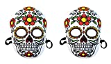 Beistle 00338, 2Piece Day of The Dead Masks, Multicolored