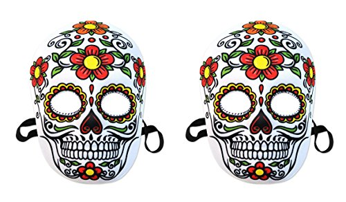 Beistle 00338, 2Piece Day of The Dead Masks, Multicolored (Mask Los Dia De Muertos)